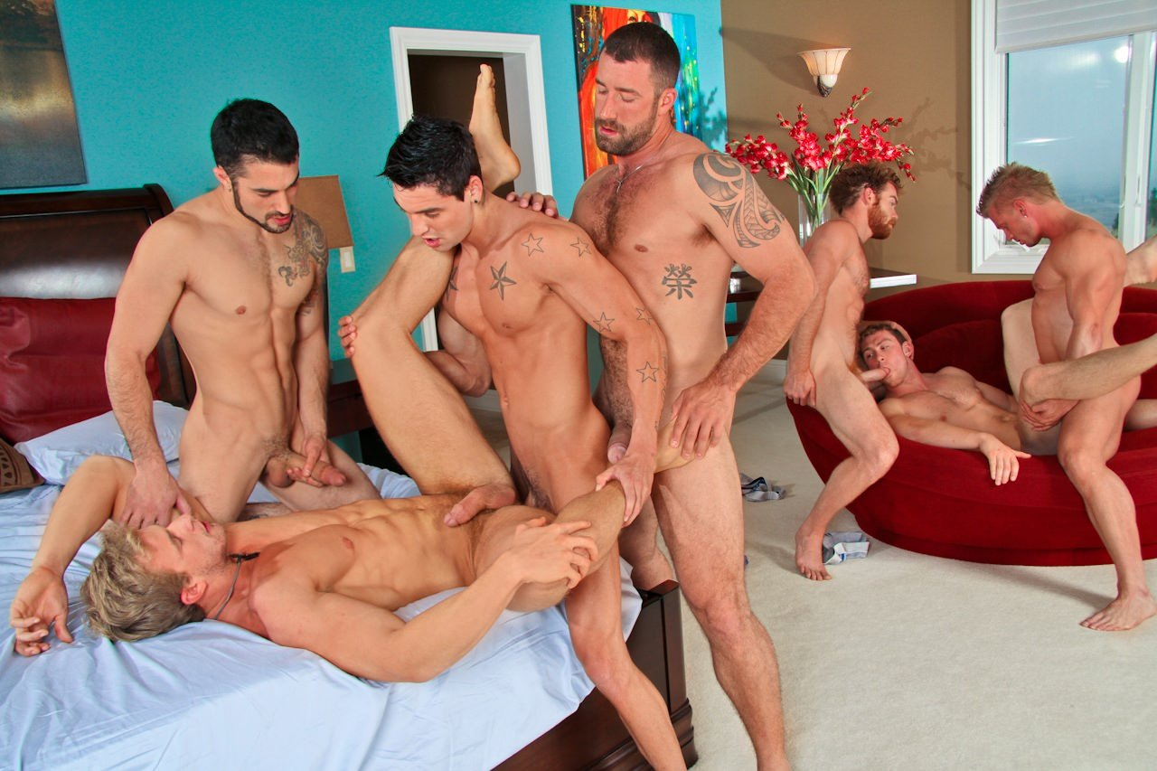Group of naked men having gay sex and the best male group