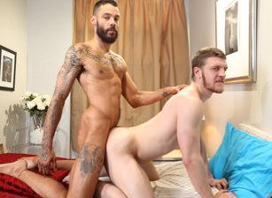 Gay anal banging ending with cum facials