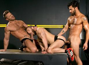 gay muscle porn clip: Cock Fight! - Adam Ramzi & Landon Conrad & Shawn Wolfe, on hotmusclefucker.com