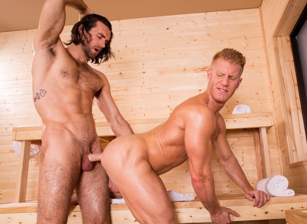 gay muscle porn clip: Bathhouse Ballers - Johnny V & Woody Fox, on hotmusclefucker.com